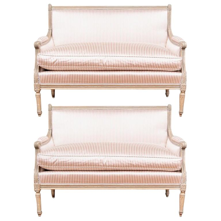 Fine Pair of Louis XVI French Style Upholstered Settees For Sale