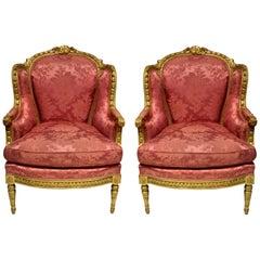 Fine Pair of Louis XVI Giltwood & Silk Bergère a Oreilles