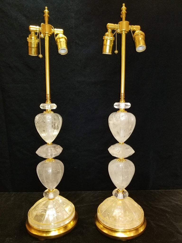 French Fine Pair of Louis XVI Style Hand-Carved Rock Crystal, Ormolu and Gilt Lamps For Sale