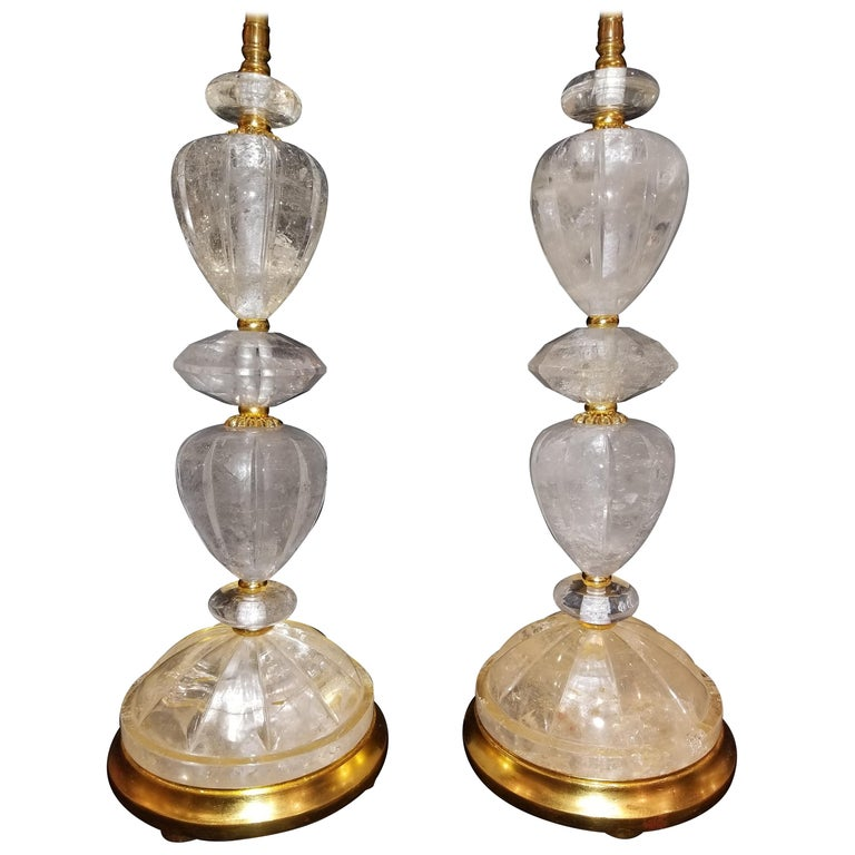 Fine Pair of Louis XVI Style Hand-Carved Rock Crystal, Ormolu and Gilt Lamps For Sale