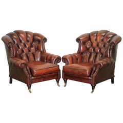 Fine Pair of Made in England Winchester Oxblood Leather Chesterfield Armchairs
