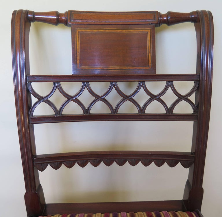 Fine Pair of Mahogany Dining Chairs, English George III Sheraton Period For Sale 4