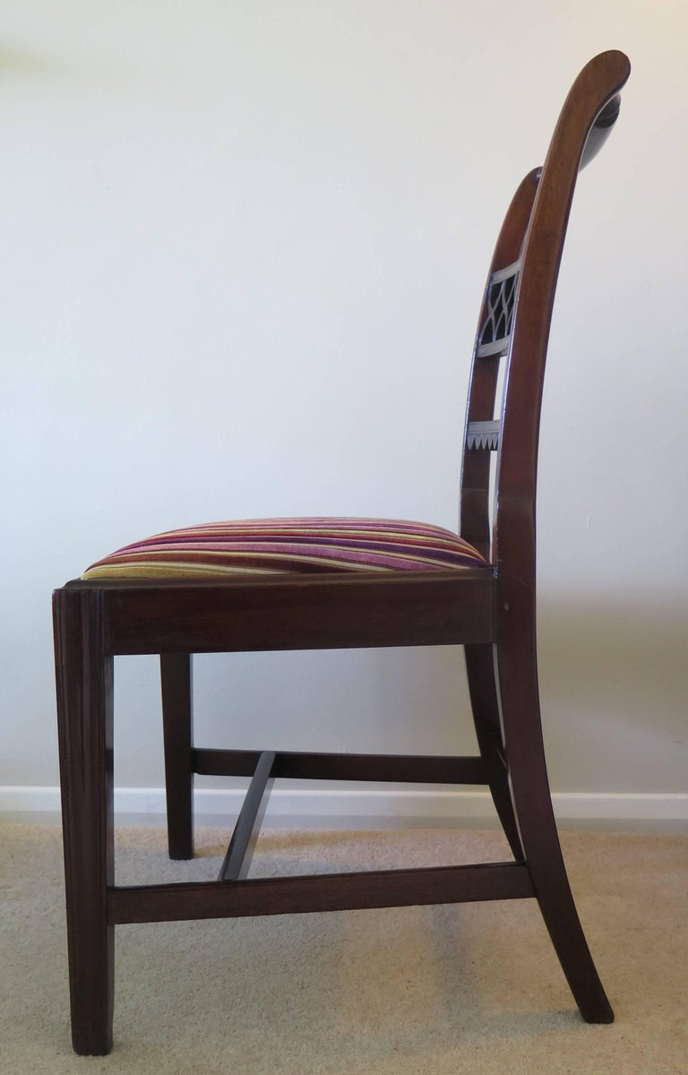 18th Century Fine Pair of Mahogany Dining Chairs, English George III Sheraton Period For Sale