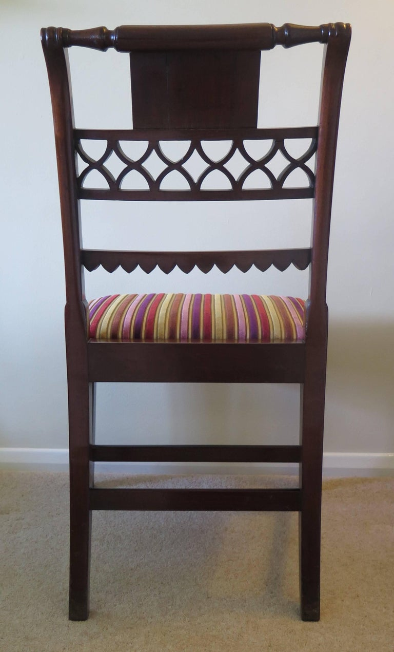 Fabric Fine Pair of Mahogany Dining Chairs, English George III Sheraton Period For Sale
