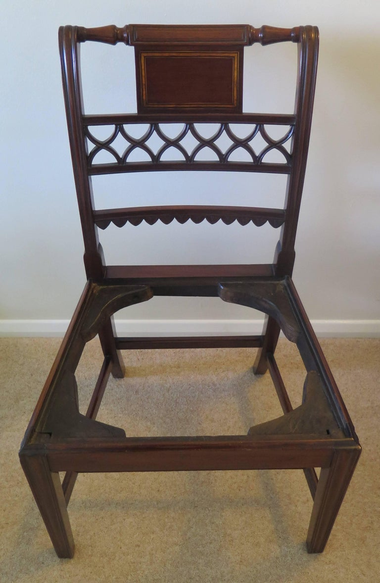 Fine Pair of Mahogany Dining Chairs, English George III Sheraton Period For Sale 1