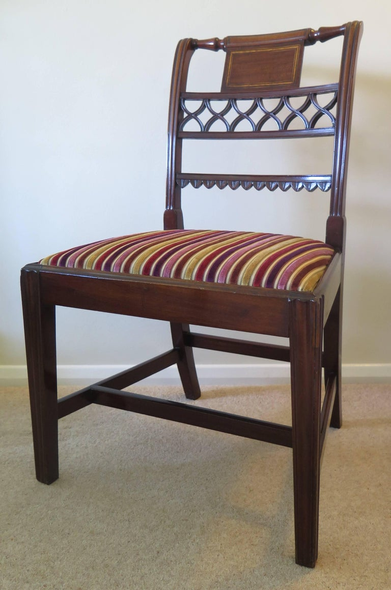 Fine Pair of Mahogany Dining Chairs, English George III Sheraton Period For Sale 2