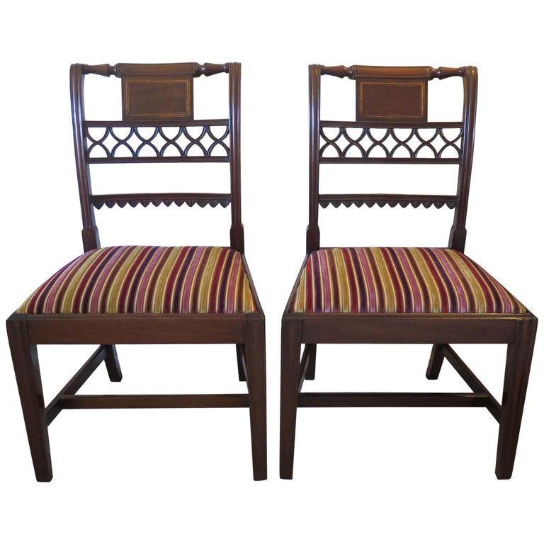 Fine Pair of Mahogany Dining Chairs, English George III Sheraton Period For Sale