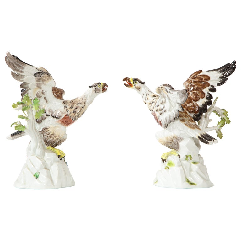 Fine Pair of Meissen Porcelain Models of Eagles Resting on Branches For Sale