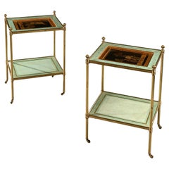 Fine Pair of Mid 20th Century Two-Tier Brass Etageres by Mallett