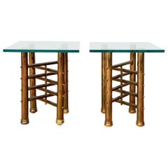 Fine Pair of Midcentury Brass Tables