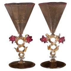Fine Pair of Murano Martini Glasses