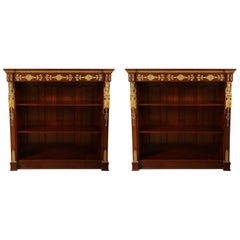 Fine Pair of Napoleonic Antique French Empire Period Mahogany Bookcases