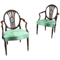 Fine Pair of Neoclassical George III Armchairs after Robert Adam