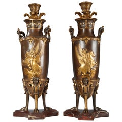 Fine Pair of Neo-Greek Vase-Candlesticks Attributed to Barbedienne and Levillain