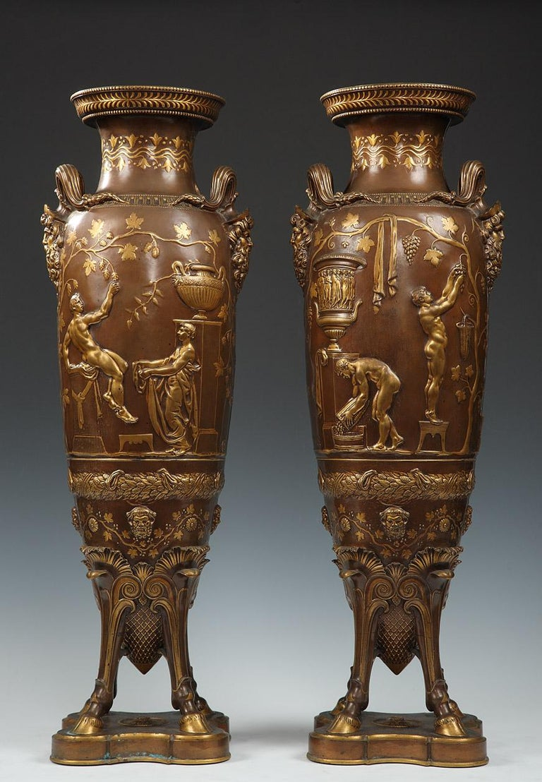 French Fine Pair of Neo-Greek Vases by F. Levillain and F. Barbedienne For Sale
