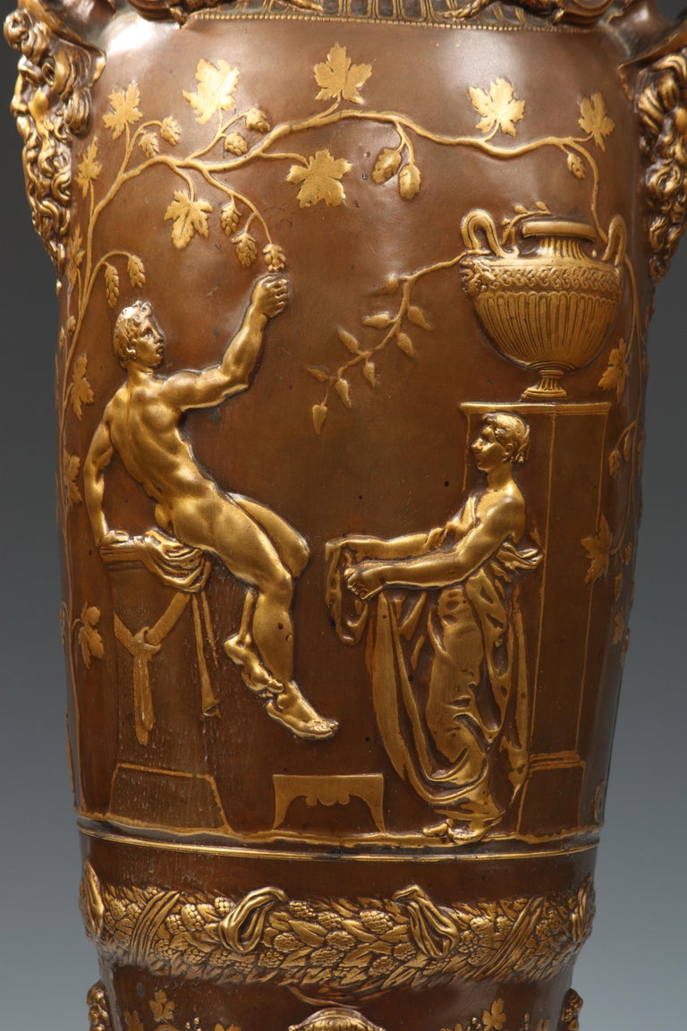 Patinated Fine Pair of Neo-Greek Vases by F. Levillain and F. Barbedienne For Sale