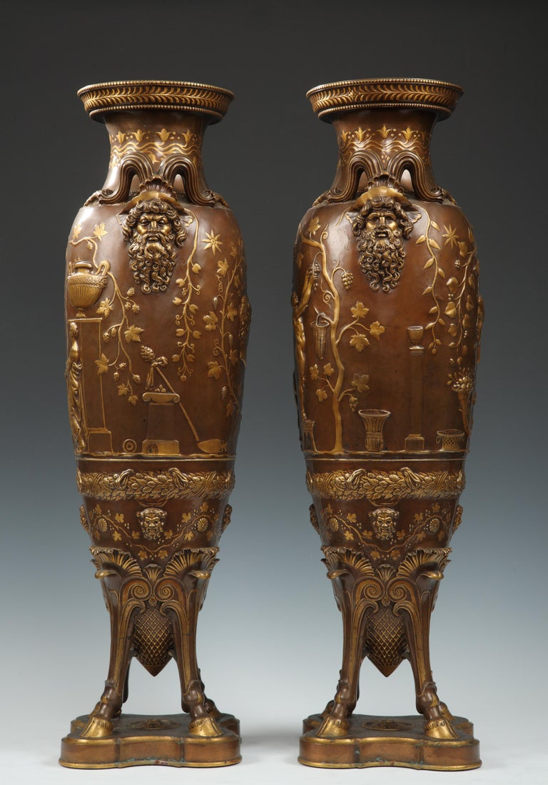 Late 19th Century Fine Pair of Neo-Greek Vases by F. Levillain and F. Barbedienne For Sale