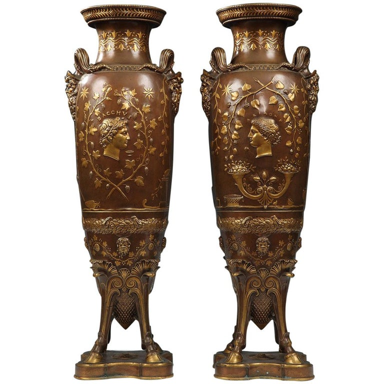 Fine Pair of Neo-Greek Vases by F. Levillain and F. Barbedienne For Sale