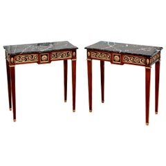 Fine Pair of Neoclassical Marble-Top Console Tables