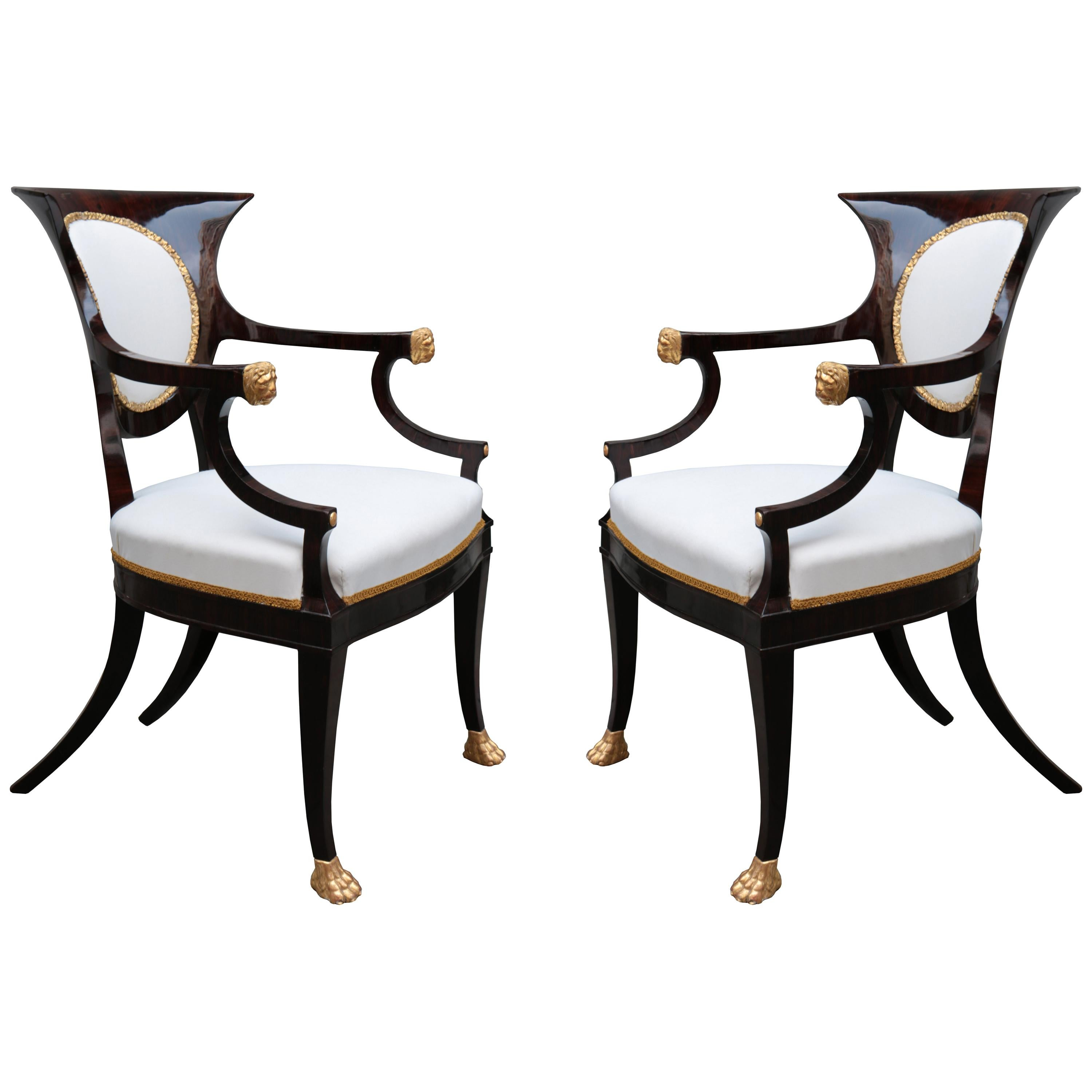 Fine Pair of Neoclassical Armchairs