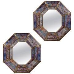 Fine Pair of Octagonal Murano Glass Mirrors