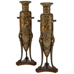Fine Pair of Parcel-Gilt and Patinated Bronze Neo-Grec Bronze Barbedienne Vases