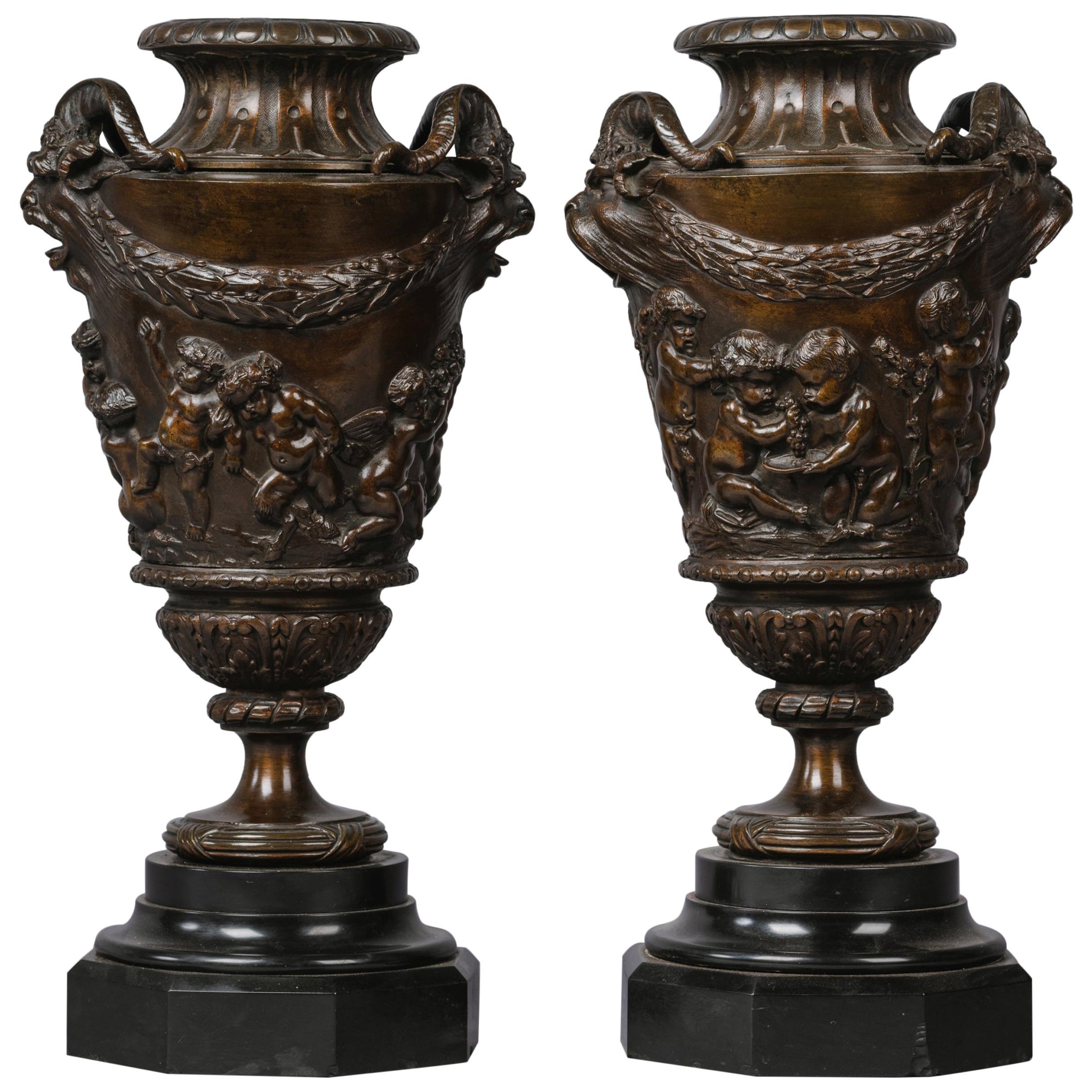 Fine Pair of Patinated Bronze Bacchanalian Vases