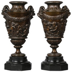 Fine Pair of Patinated Bronze Bacchanalian Vases
