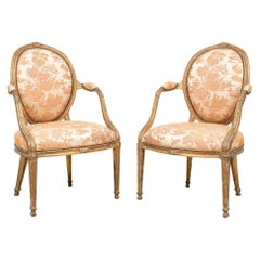 Fine Pair of Period George III Carved and Gilt Armchairs