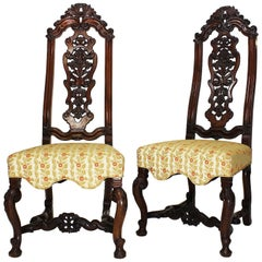 Fine Pair of Portuguese 19th Century Carved Walnut High Back Side Chairs