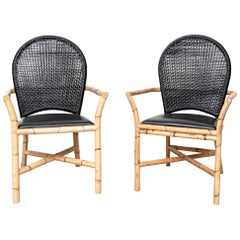 Fine Pair of Quality Rattan Armchairs