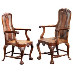Fine Pair of Queen Anne Style Walnut Open Armchairs