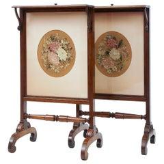Fine Pair of Regency Palisander Tapestry Fire Screens