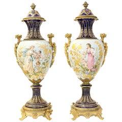 Fine Pair of Sevres Gilt Bronze-Mounted Painted, Parcel-Gilt Porcelain Vases