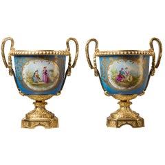 Fine Pair of Sèvres Style Blue Celeste Ground Porcelain Jardinières, circa 1860