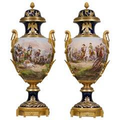 Fine Pair of Sèvres-style Napoleonic Porcelain Vases