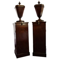 Fine Pair of Sheraton Style Pedestal Wine Cisterns, 19th Century