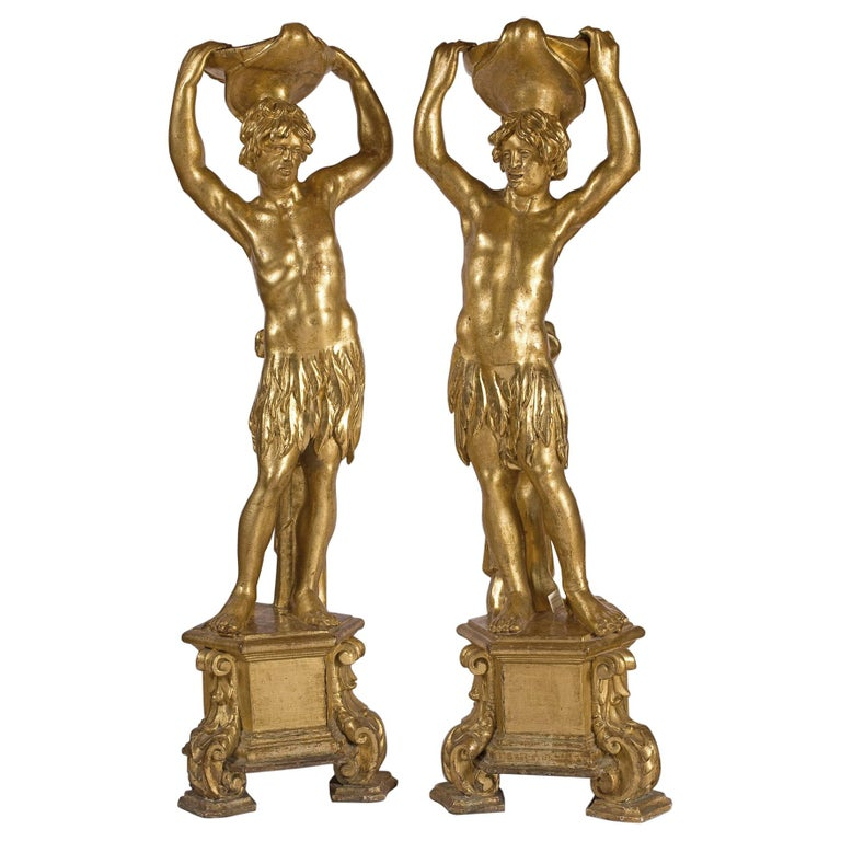 Fine Pair of Venetian Figures in Giltwood, circa 1700 For Sale