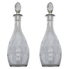 Fine Pair of Victorian Hand Blown Engraved Crystal Decanters, circa 1860-1870