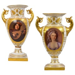 Fine Pair of Vienna Style Painted Porcelain Vase with Handles