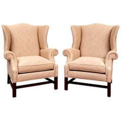 Fine Pair of Vintage Custom Wing Chairs