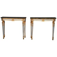 Fine Pair of Russian Paint Decorated and Gilded Marble-Top Console Tables