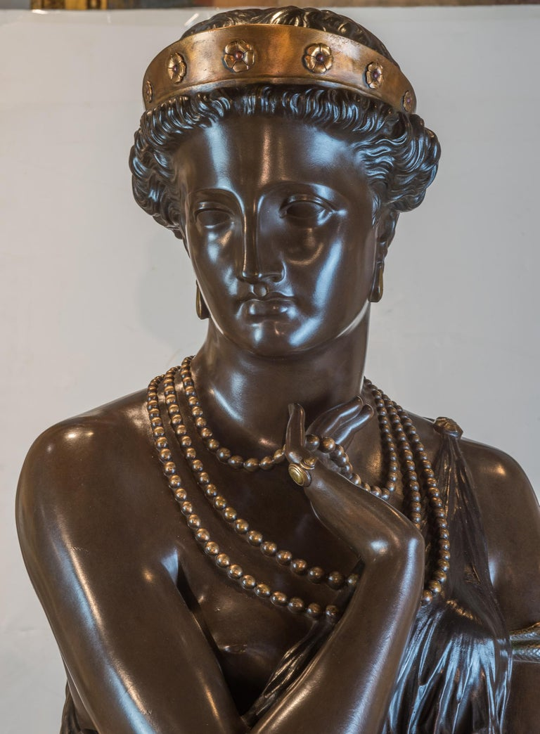 French Fine Patinated Bronze Bust of Helen of Troy by Clésinger For Sale