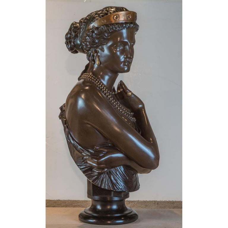 Fine Patinated Bronze Bust of Helen of Troy by Clésinger In Good Condition For Sale In New York, NY