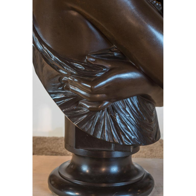 Fine Patinated Bronze Bust of Helen of Troy by Clésinger For Sale 1