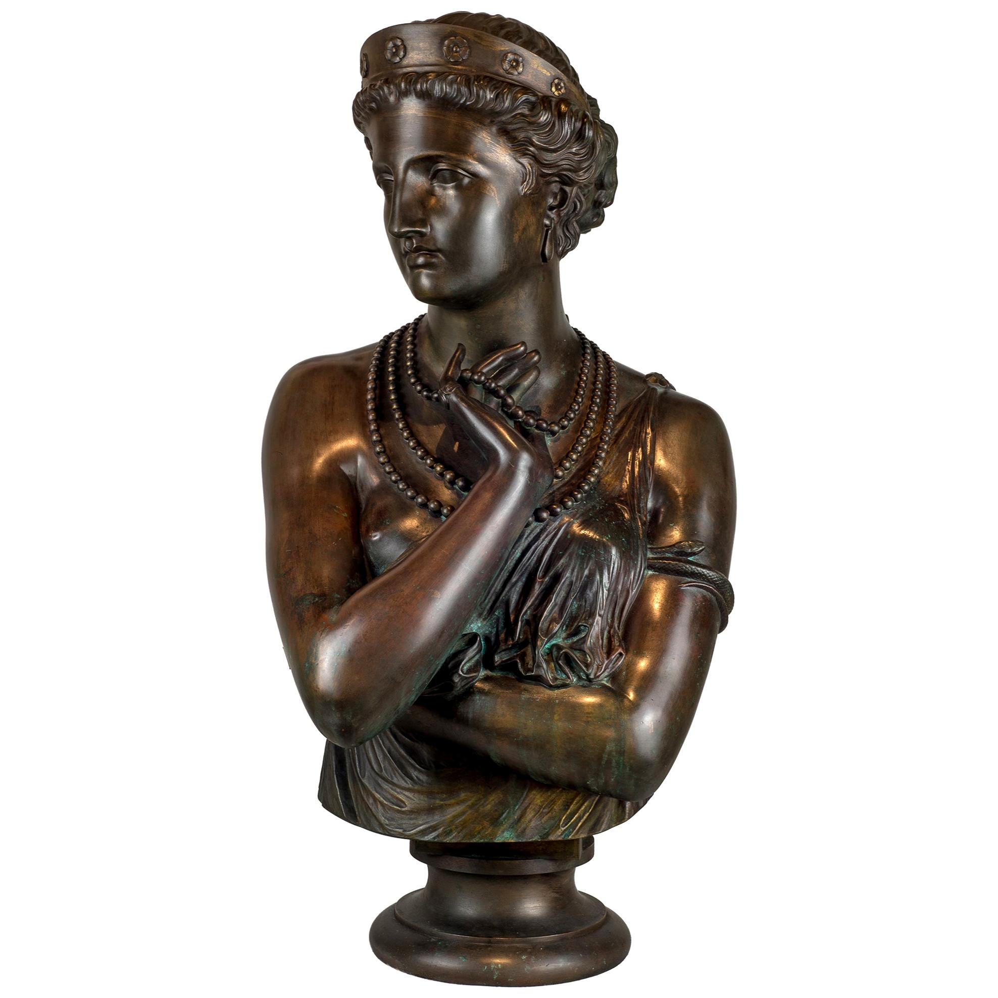 Fine Patinated Bronze Bust of Helen of Troy by Clésinger