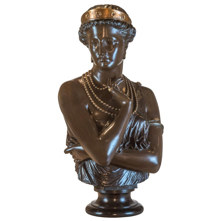 Fine Patinated Bronze Bust of Helen of Troy by Clésinger For Sale