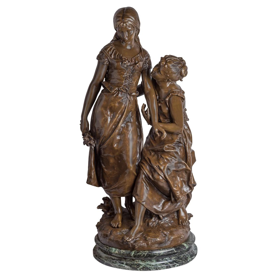 Fine Patinated Bronze Sculpture of Two Females by Hippolyte Moreau