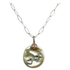 Fine Pearl Diamond 14 Karat Fw Pendant Necklace Italy Certified