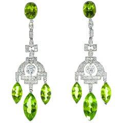 Fine Peridot Diamond Platinum Chandelier Earrings